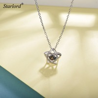 Star Heart Necklace 925 Sterling Silver AAA Cubic Zirconia Love Heart Star Necklace Dainty Crystal Heart