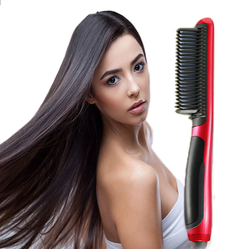 Professional New Hot Fast Hair Straightener Brush Comb Electric LCD Temperature Control Tourmaline ceramic Straightening Irons electric digital hair straightening irons professional fast ceramic hair straightener brush comb styling tools escova alisador