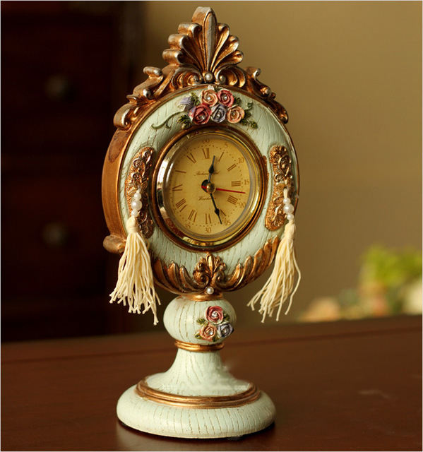 Lovely Resin Clock Dresser Furnishing Articles Mini Desktop Decorative Table Clocks  Retro Clock 22.5*11*