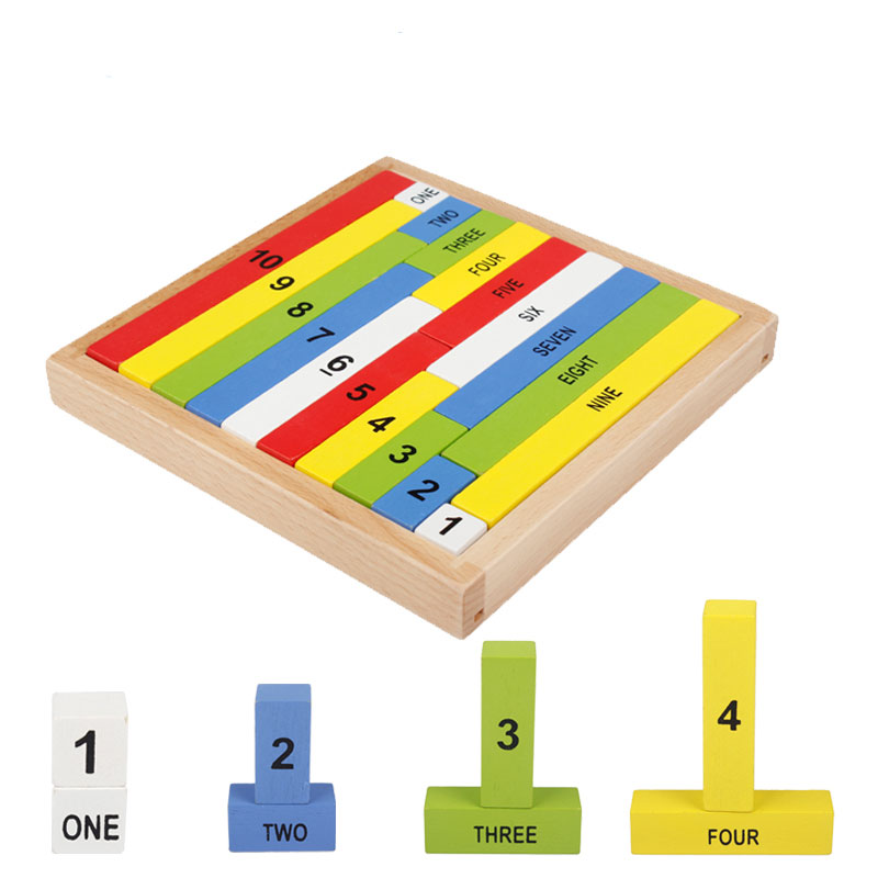 Montessori Math Stick Wooden Blocks Early Learning 1-10 Mathematics Teaching Educational Toy For Children Gift CC0746H