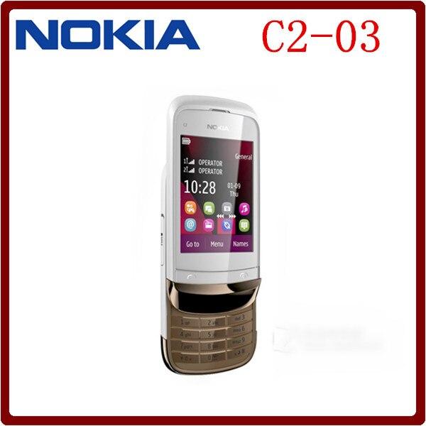 bilder für C2-03 ursprünglicher freigesetzter nokia c2-03 2,6 ''2mp kamera dual sim mp3 player refurbished handy verschiffen frei
