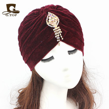 2016 New Fashion Women  jeweled pendant Turban Soft Velvet Headband Knitted Head Wrap Indian Style Beanie Hat Turbante