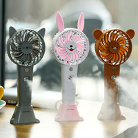 1200MA Cute Animal USB Rechargeable Fan Handheld Spray Fan Summer Water Mist Fan 3 Type