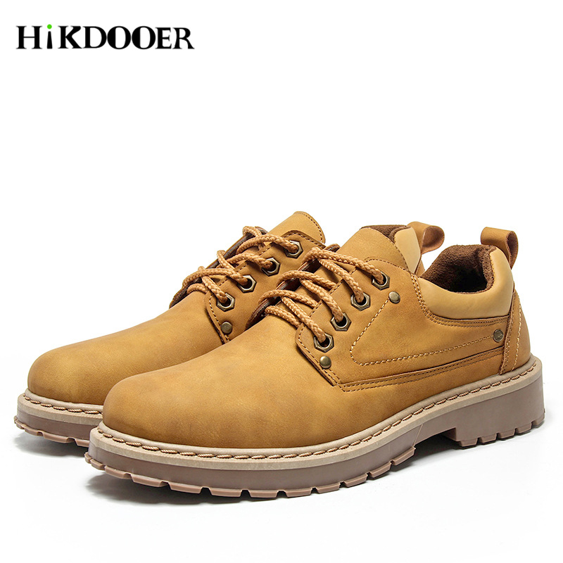 New Fashion Italian Men Leather Martin Shoes Luxury Classic Men Shoes Oxfords Designer Waterproof Martin Shoes Outdoor Footwear