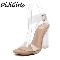 Dijigirls جديدة النساء الصنادل السيدات مضخات سميكة مربع ارتفاع كعوب أحذية امرأة الكريستال واضحة شفافة الكاحل الشريط حزب أحذية