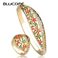 Colorful Summer Style Bangle Ring Sets Hollow Out Enamel Joias Ouro 18K Flower Indian Jewelry Wedding