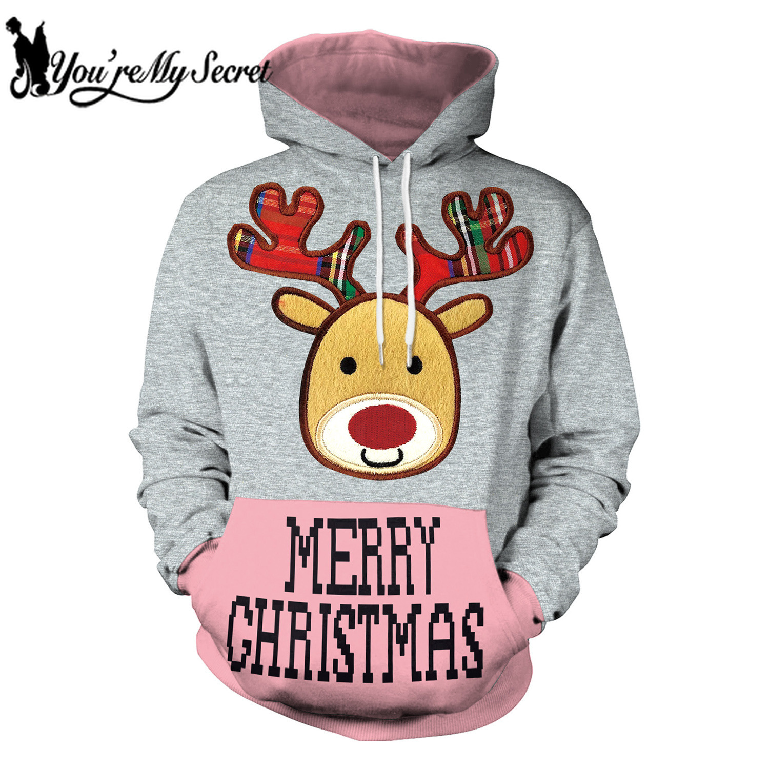 [You're My Secret] 2019 New Arrival Winter Merry Christmas Deer Cartoon Unisex Hooded Sweatshirts Hoodie for Women and Men