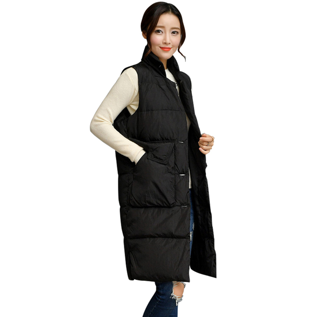 352cdb77e365 2017 New Winter Slim Long Down Vest Women Fashion Sleeveless Down Jackets  Female Thicken Down Coats Parkas Outerwears