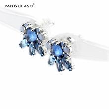 Patrones de Las Heladas Azul Pendientes Cristalinos Del Perno Prisionero para Las Mujeres 2016 Nuevo Original 925 Accesorios de Joyería de Plata del Estilo del Invierno