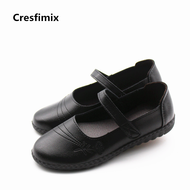 Cresfimix zapatos de mujer women cute hook & loop round toe flat shoes lady casual soft pu leather shoes female black shoes cresfimix women casual plus size slip on flat shoes lady leisure round toe grey flats zapatos de mujer female comfortable shoes