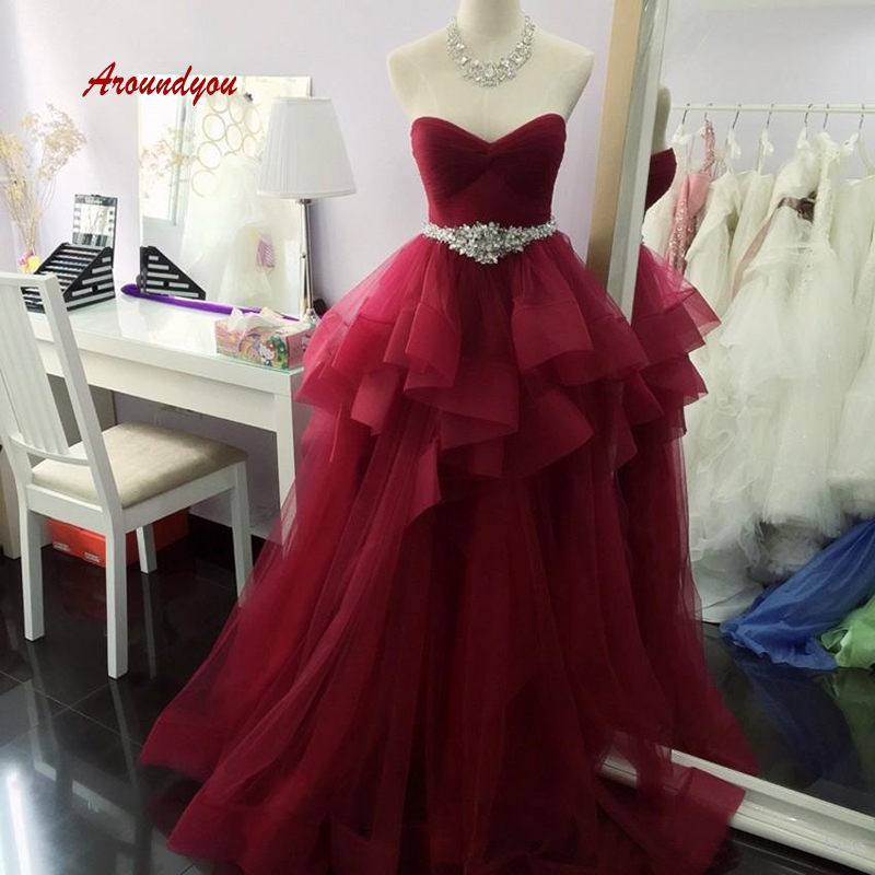 Burgundy Long   Prom     Dress   Plus Size Sexy Party Women Formal Evening   Dresses   Gowns vestido de fiesta largo