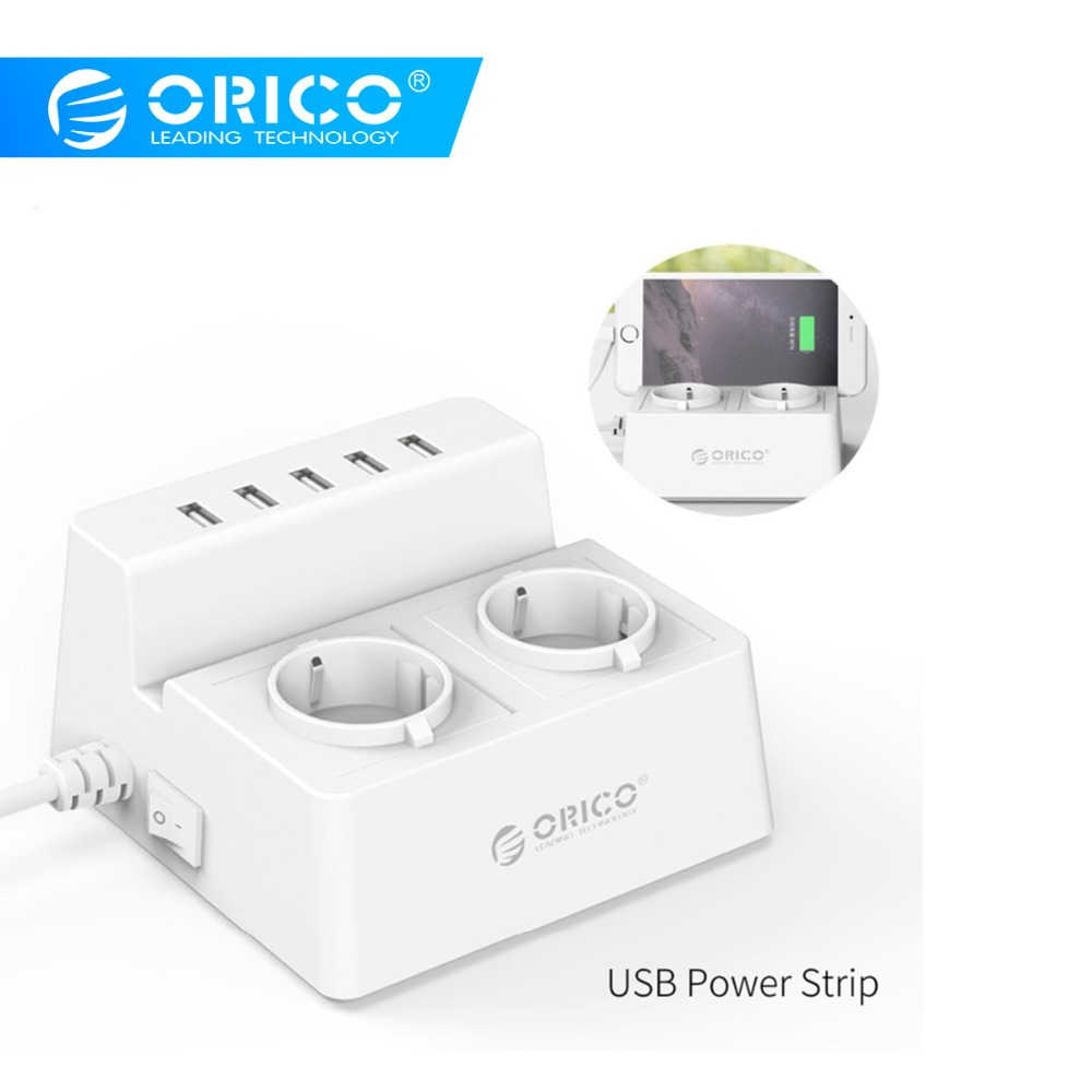 Orico ODC-2A5U-V1 Smart Pengisian Desktop Charger dengan 2 AC Outlet And 5 USB Port untuk Ponsel, Iphone tablet dan Desktop