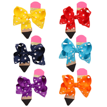 цена на Back To School 4.5'' Pencil Hair Bows For Girls Grosgrain Ribbon Glitter Hair Clip For Girls Gifts Hairpins Hair Accessories