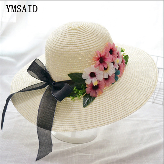 119d2dc5733 Ymsaid Double Flowers Weave Straw Hat Fashion Wide Brim Summer Panama Hats  Women Visor Beach Hat Collapsible Floral Bow Sun Hat