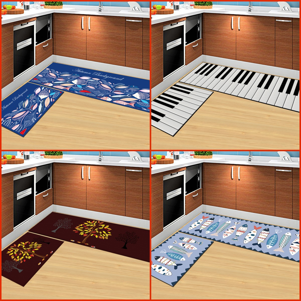 Big Szie Cartoon Mat Doormat Non-Slip Kitchen Carpet Bath Mat Home Entrance Floor Mat Hallway Area Rugs Kitchen Non-Slip Mat