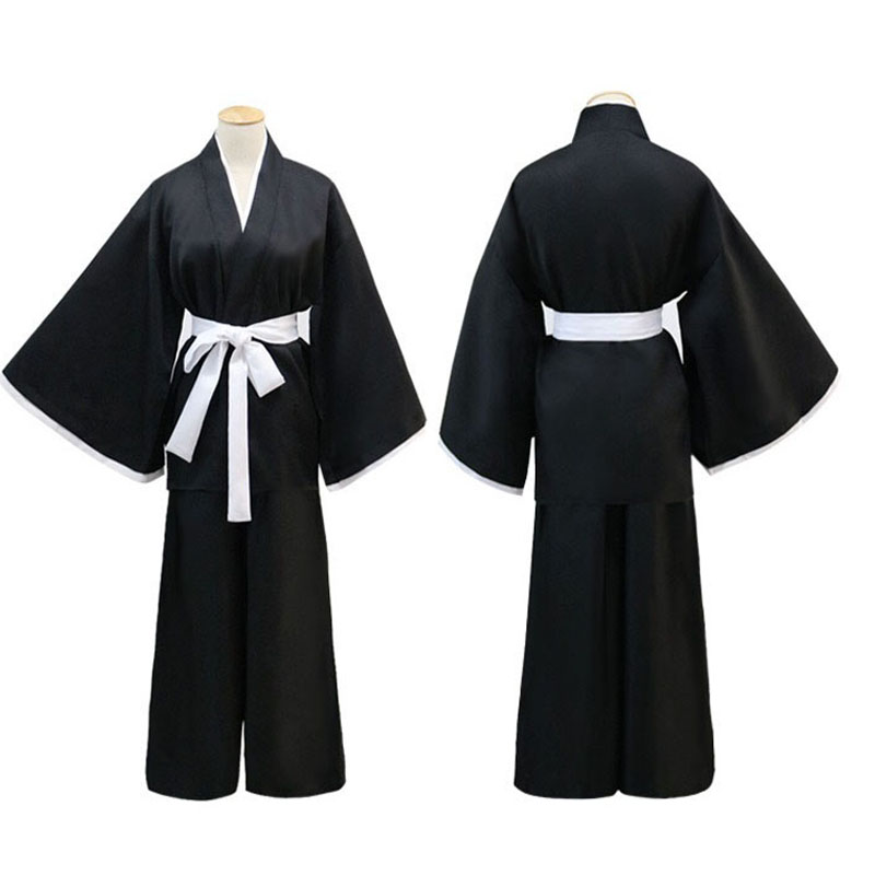 Adult Men Women Japan Anime Samurai Costume Unisex Black Wrap Kimono Warrior Ninja Shinigami Death Cosplay Gown Robe Outfit XXL