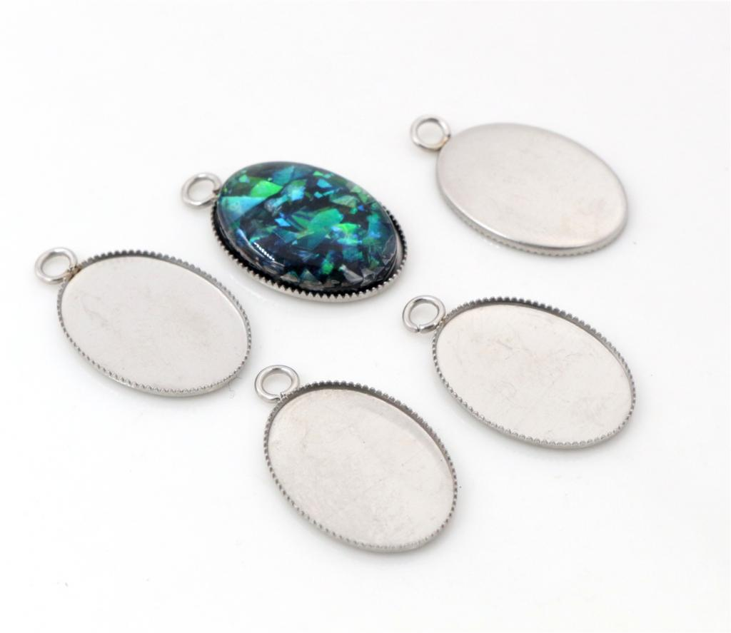 ( No Fade ) 20pcs 13x18mm Inner Size Stainless Steel Material Oval Style Cabochon Base Cameo Setting Pendant Tray -T6-46( No Fade ) 20pcs 13x18mm Inner Size Stainless Steel Material Oval Style Cabochon Base Cameo Setting Pendant Tray -T6-46