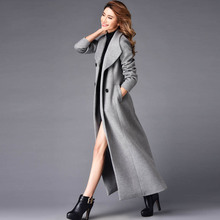 2016 Winter Double Breasted Overcoat Women Turn-Down Collar X-Long Slim Outerwear Plus Size Wool Trench Coat S- 4XL