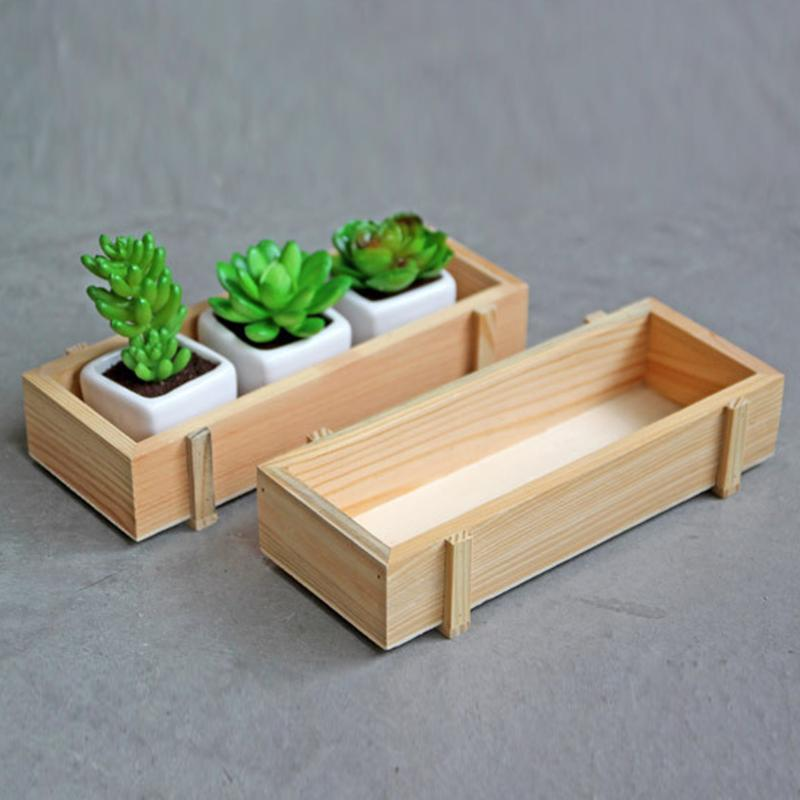 Wooden Plants Flower Pot Decorative Natural Wood Flower Planter Succulent Plants Case Table Flower Pots Gardening Tools