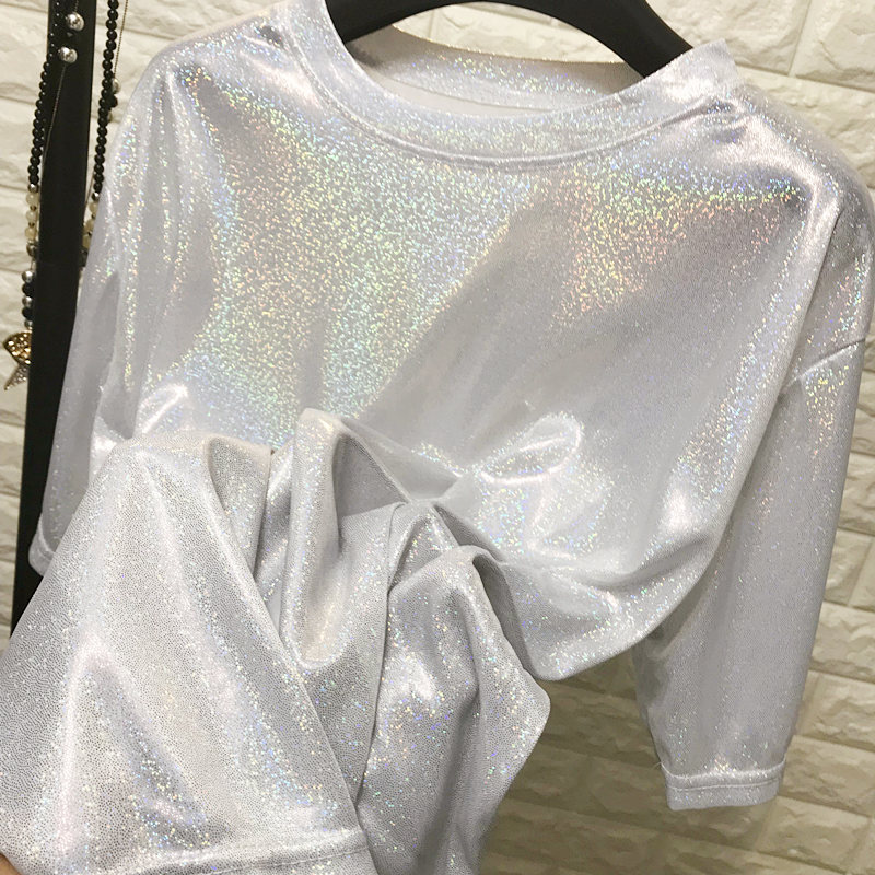 Daddy Chen Glitter T Shirt Loose Femme Bling Tops for Women Short Sleeve O Neck Clubwear Fashion High Street Roupas Feminina 14