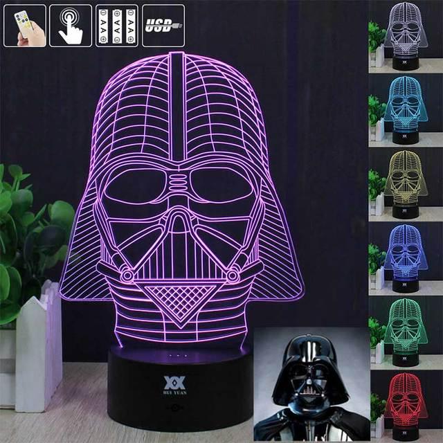 HUI YUAN 3D CONDUZIU A Lâmpada Luz USB Darth Vader 1 Colorido Luz Da Noite para o Casamento Deco Inovador presente de Natal Presente