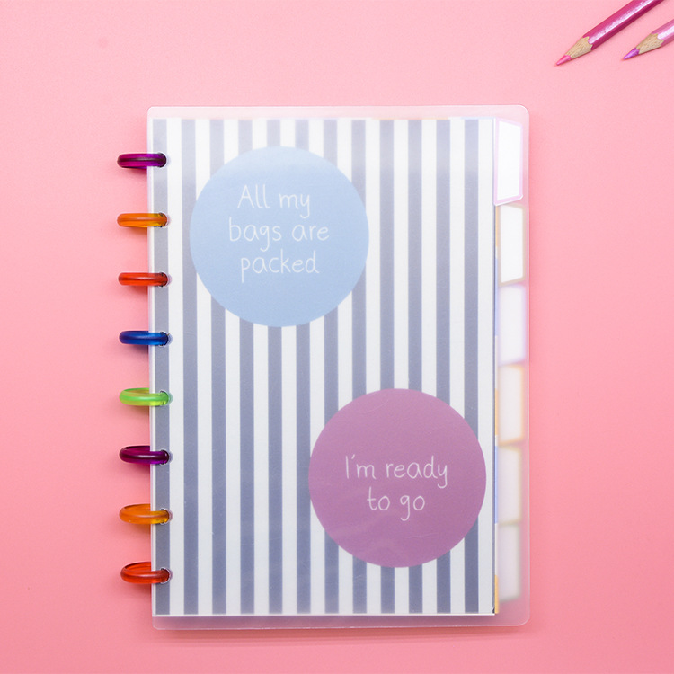A5 Transparent Cover Color Inside Page Manual Book Creative Loose-leaf Journal Diary Student Entry Account Book RINGNOTE