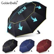 120 см автоматический двойной большой зонтик дождь Женский 3 складной ветрозащитный большой зонтик мужской семейный путешествия бизнес-автомобиль Зонты