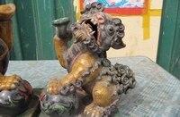 China Folk Wucai porcelain Money Ru Yi Evil spirits beast Foo Dog Lion Play Bead