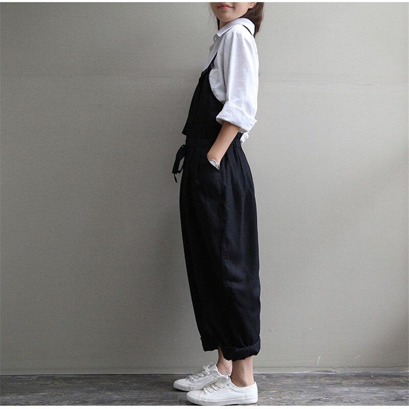 2018 Spring Women Black Rompers Trousers Overalls Cotton Linen Jumpsuits Lady Casual Loose Long Pants Harem Pants Bigsize AB841