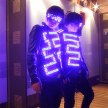 DHL Free Shipping LED Luminous Costume For Men Clothing Light Up Suits Dance Wear Event Party Supplies Accept Custom Design