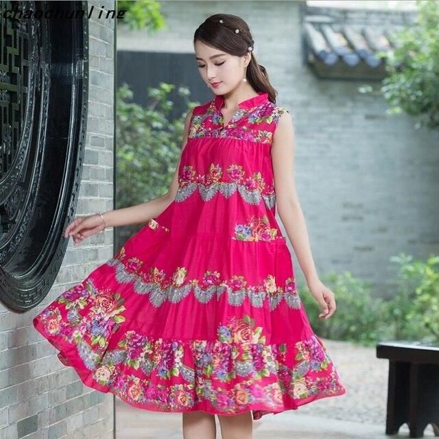 2017 mã Trung Bình của Phụ Nữ Lỏng Lẻo In Ngắn Tay Áo vải lanh Bông Váy Cổ Chữ V Red Và Green Màu A-Line Hàn Quốc Dresses