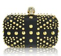Personality designer luxury gold evening bag Punk skull rivets rhinestones clutches , PU Leather party bags/handbag/clutch bags
