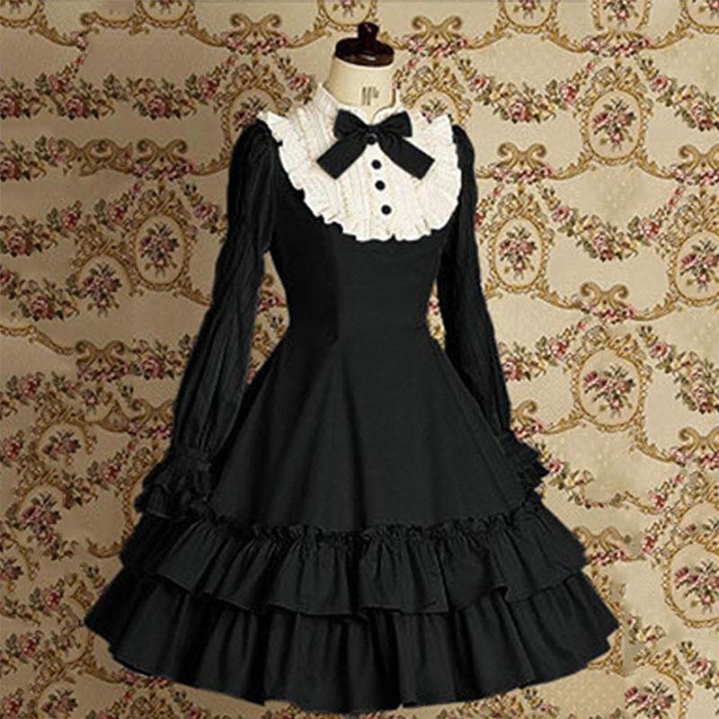 Sweet Girls Vintage Slim Cotton Dress Lolita Classic Mary Magdalene Women Bow Tie Ruffle Layer Princess