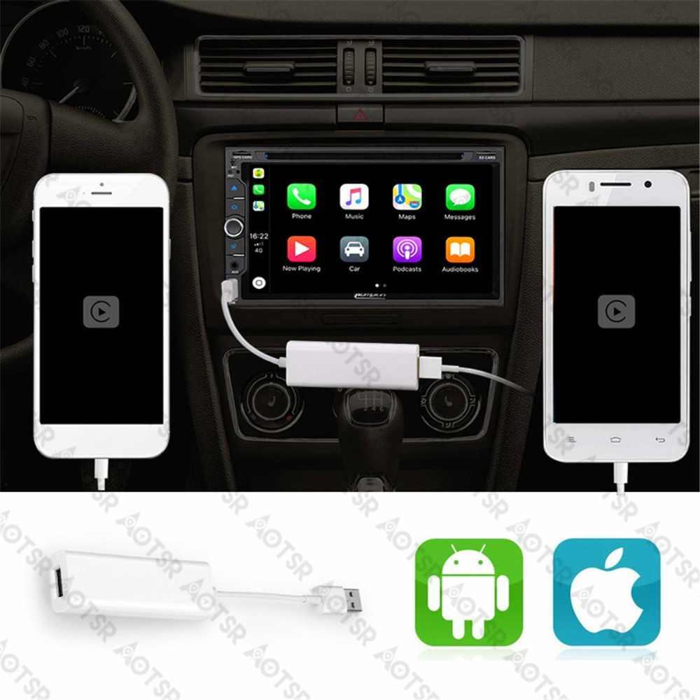 Plug and Play USB CarPlay Dongle para iPhone IOS sistema Android Teléfono coche reproductor de DVD unidad de navegación con Control de pantalla táctil