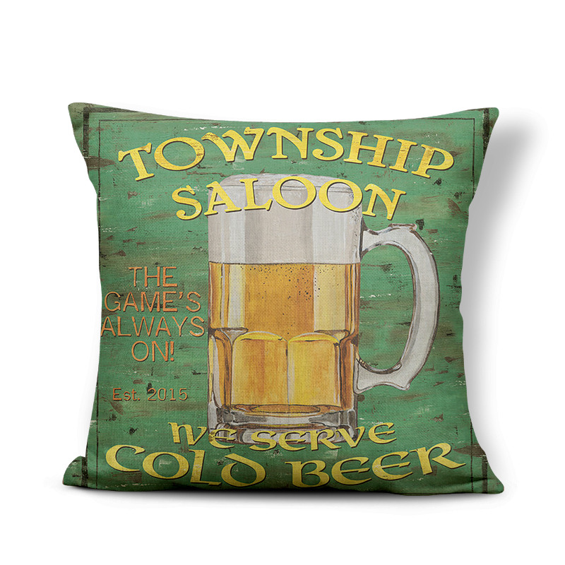 Retro Poster Cushion Cover Watercolor Bar Cold Beer Man Cave Pillow Case Cover Decor Home Throw Pillow Large Linen Blend Funny 2