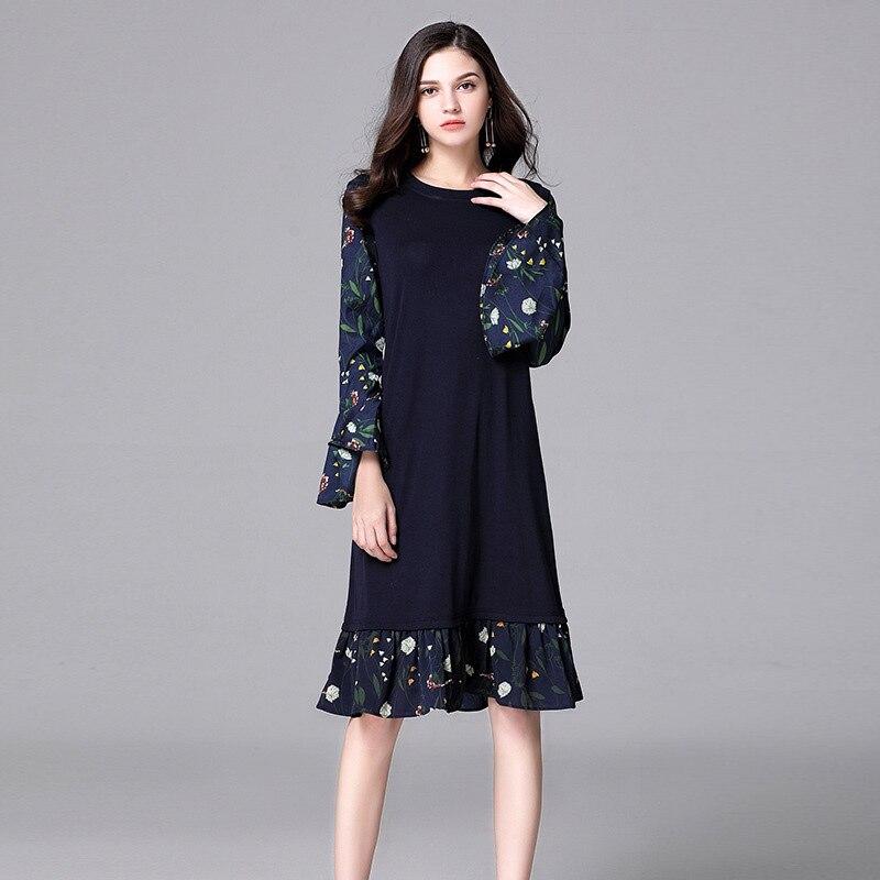 Women autumn Chiffon large size short dress 5xl Plus Size Vestidos Butterfly Sleeve Patchwork Dress fat mm Office Lady Dresses одежда больших размеров large size women 53214 mm 2015 200