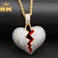 bfede9724fa3 Iced Out Broke Heart Necklace Pendant Cubic Zirconia Gold Silver Color With  Rope Chain Hiphop Jewelry