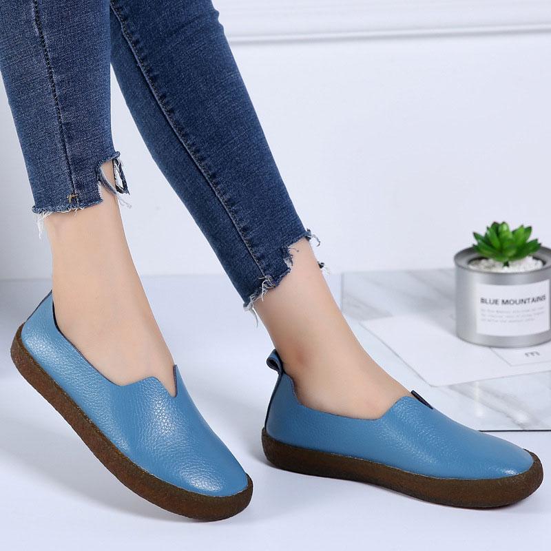 Mode Frauen Wohnungen Schuhe zapatos mujer 2018 Heißer Echtem Leder Schuhe  Frau espadrilles Plus Größe Loafer Frauen Ballerina Wohnungen db153062e3
