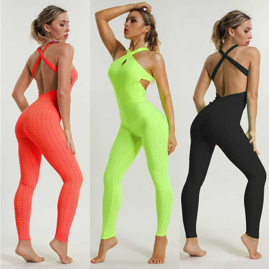 LI-FI one Piece Yoga Set Sexy Sleeveless Puah Up Yoga Suits Running Workout Fitness Gym Wear Tight Bodysuit Slim Training Suit