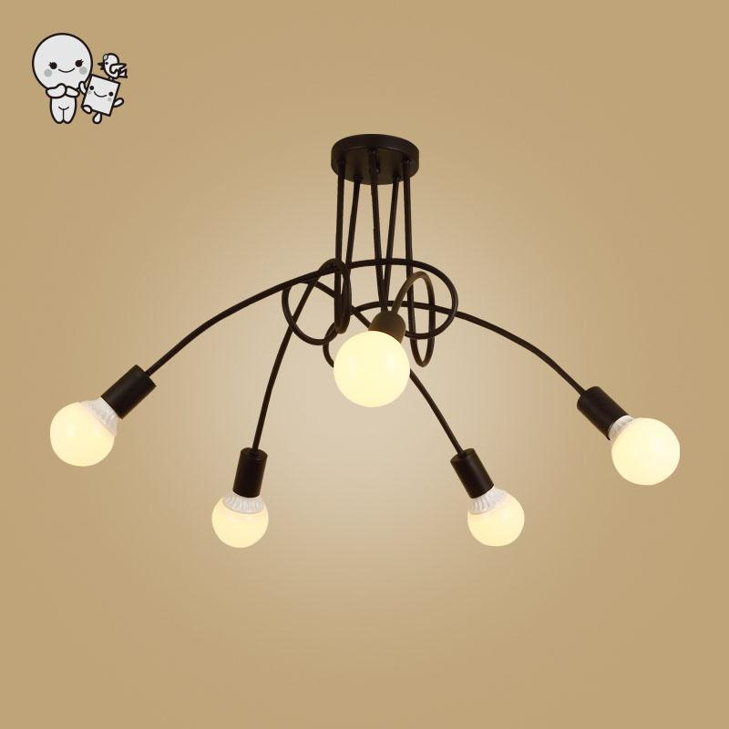 3/5 Heads Black White Iron Twist Tube Ceiling Light Fixture Vintage Nordic Minimalist Hanging Lamp for Kitchen Living Room E27