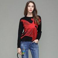Di alta qualità di Lusso di marca Big Red Pesce Ricamato maglione moda donna casual inverno lavorato a maglia pullover donna nero warn tops