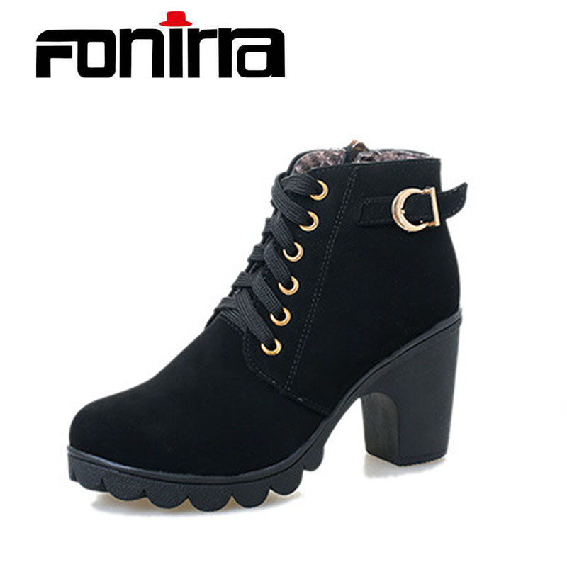 FONIRRA High Quality Women Boots PU Leather Winter Women Ankle Pumps Ladies Lace-up Winter High Heel Ankle Boots Shoes 240