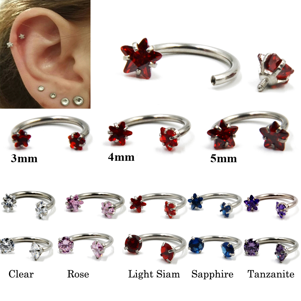 Labret Piercing Jewelry Horseshoe Internally-Thread Circular Barbell Nose-Lip Helix Ear-Cartilage