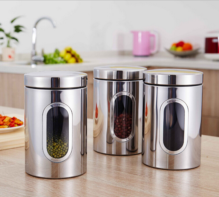 glax free shipping 3pcslot stainless steel kitchen storage containers very good quality vacuum tea - Kitchen Storage Containers