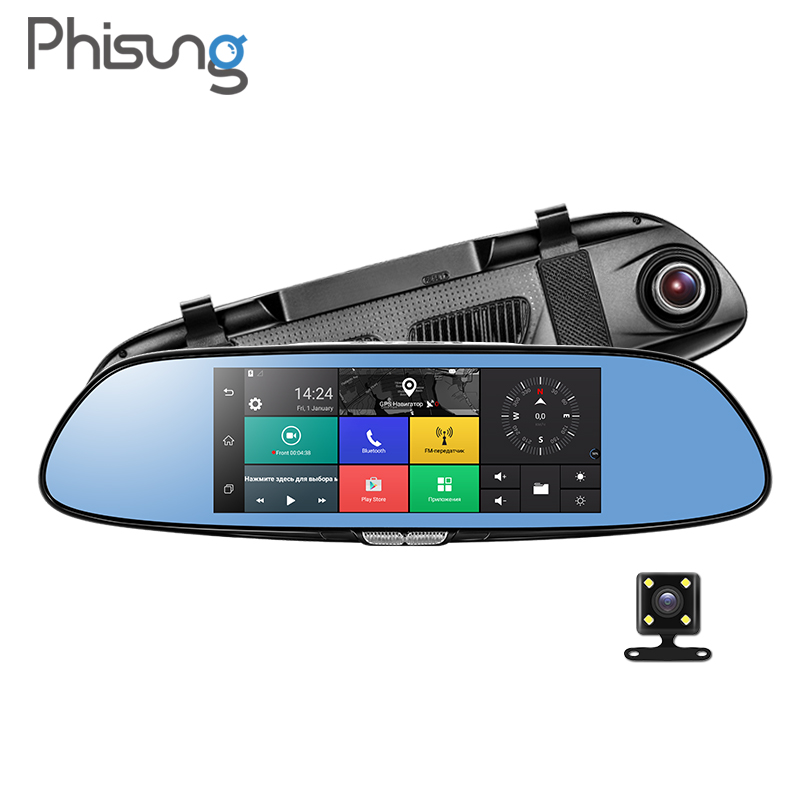 Phisung 3G Car Camera 7Touch Android 5.0 GPS dvr car video recorder Bluetooth WIFI Dual Lens rearview mirror Dash cam car dvrs 2016 new 5 0 touch android bluetooth dash camera parking car dvr rearview mirror video recorder vehicle gps navigator free maps