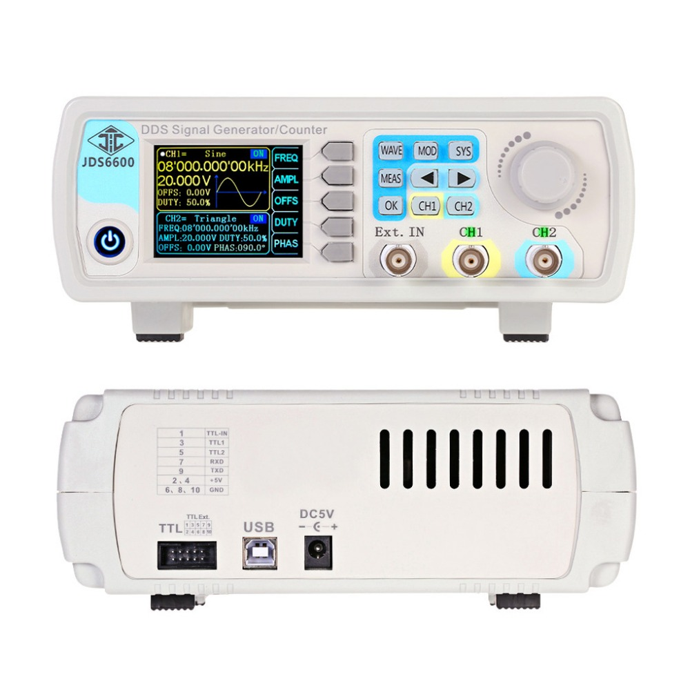 DDS Function Signal Generator 50MHz Arbitrary Waveform Pulse Signal Generator Frequency Meter EU 80-230V DDS Function Signal Generator 50MHz Arbitrary Waveform Pulse Signal Generator Frequency Meter EU 80-230V