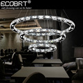 ECOBRT Modern LED Crystal Pendant Lights in Foyer Creative LED Circles Cord Lamps 1 2 3 Rings Lustres Luminaire 110-240V AC