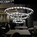 ECOBRT Modern LED de Cristal Pingente Luzes no Foyer Criativo LEVOU círculos Cabo de Lâmpadas 1 2 3 Anéis Lustres Luminária 110-240 V AC