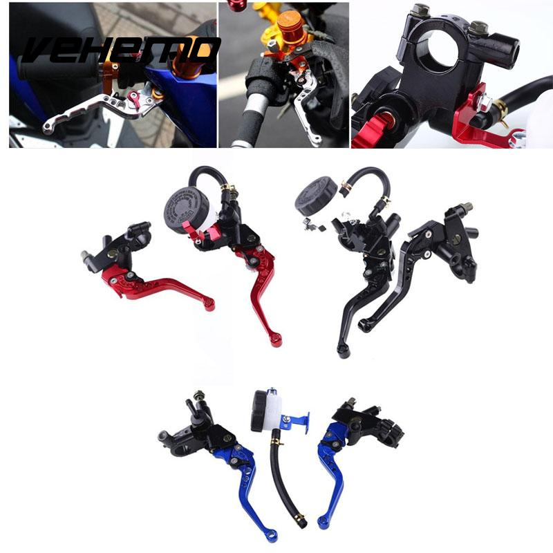 VEHEMO Universal 1Pair 22mm 7/8 inch Front Handlebar Brake Clutch Master Cylinder Lever Reservoir Motorcycle Motor Metal universal front clutch brake master cylinder reservoir handle bar lever aluminum one pair 7 8 22mm orange