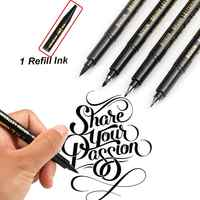 Refill Brush Marker Pens for Lettering - 4 Size Black Calligraphy Ink Pen for Beginners Writing, Signature, Illustration, Design